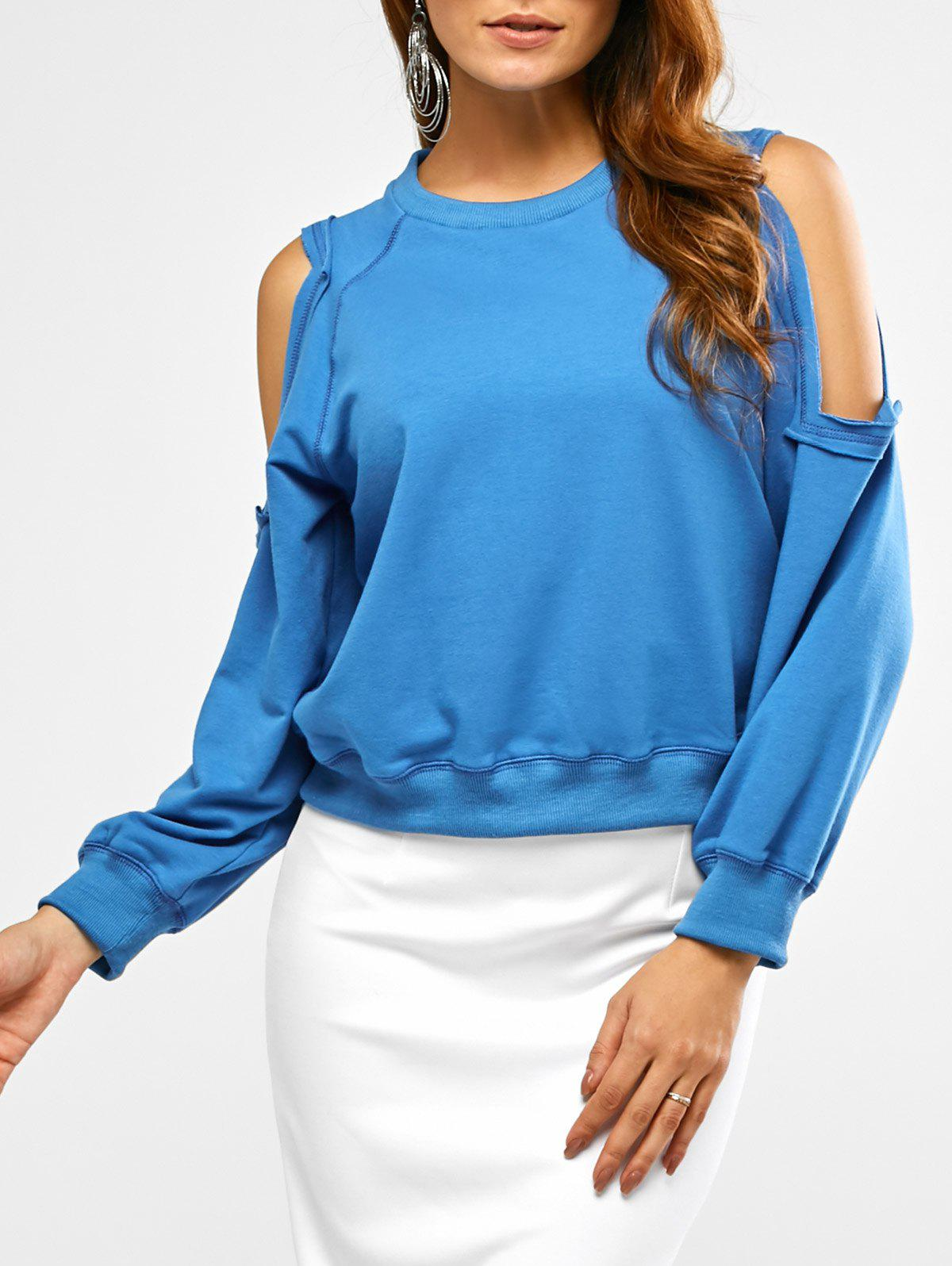 Crew Neck Cold Shoulder Cropped Sweatshirt drop shoulder crew neck plain sweatshirt