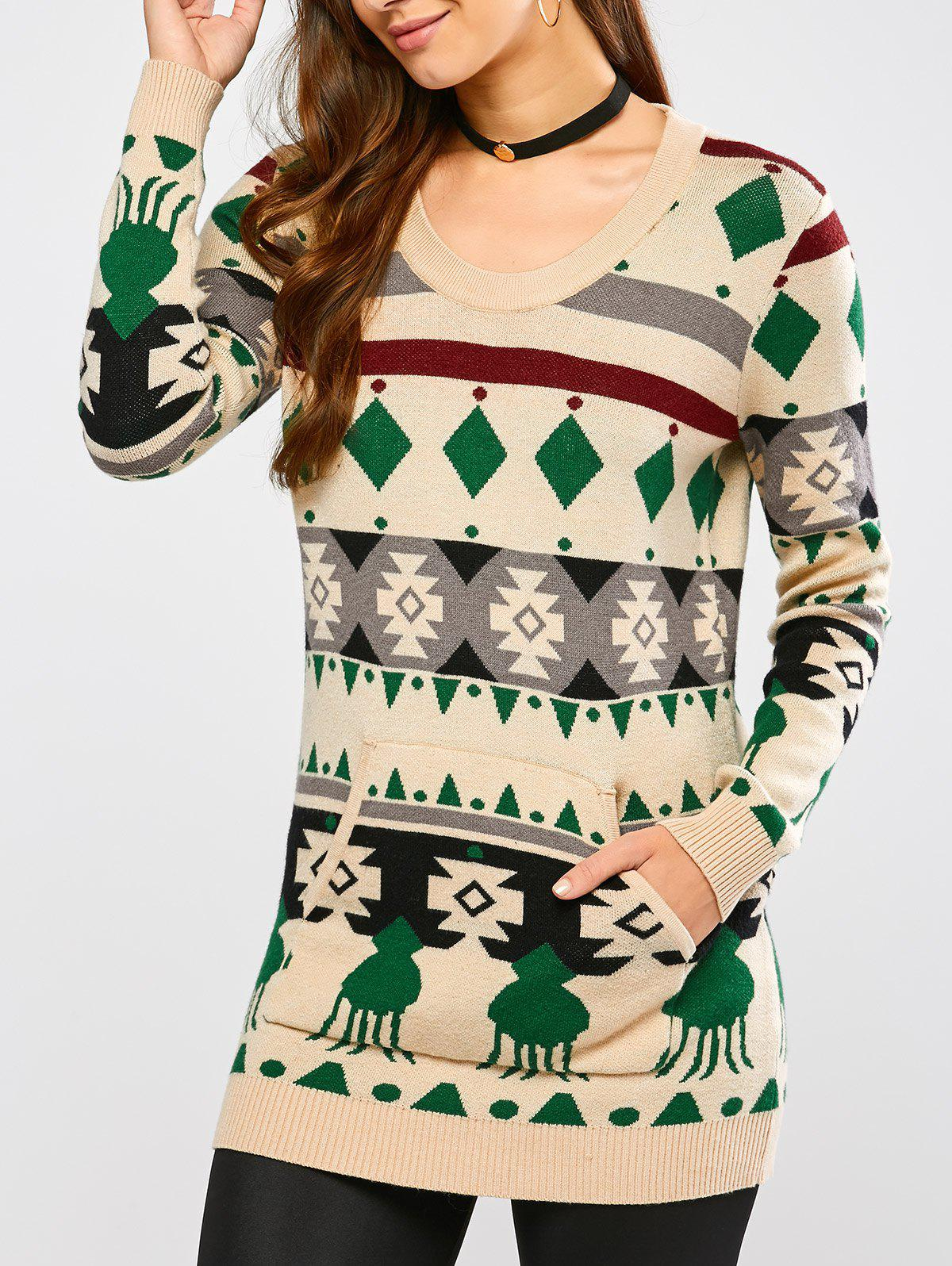 Crew Neck Geometric Pullover Knit Sweater - BEIGE S