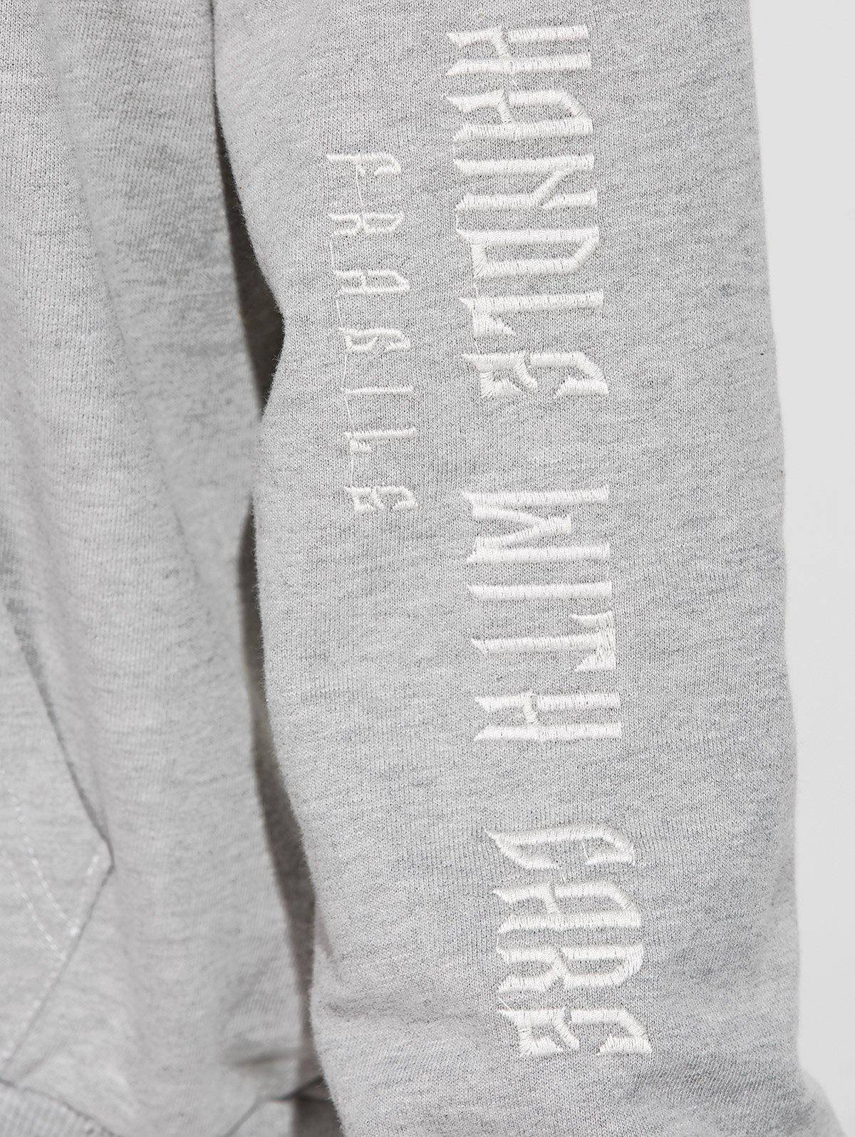 Front Pocket Embroidered Hoodie - GRAY M