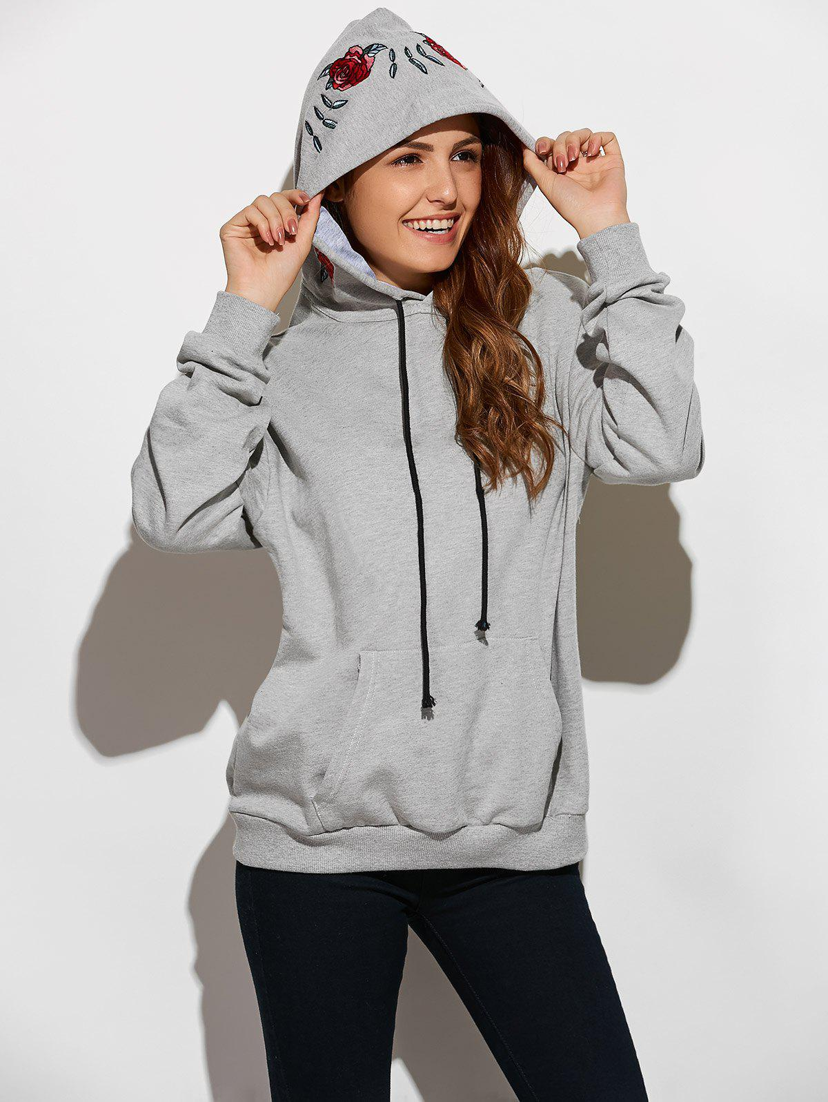 Front Pocket Embroidered Hoodie - GRAY L