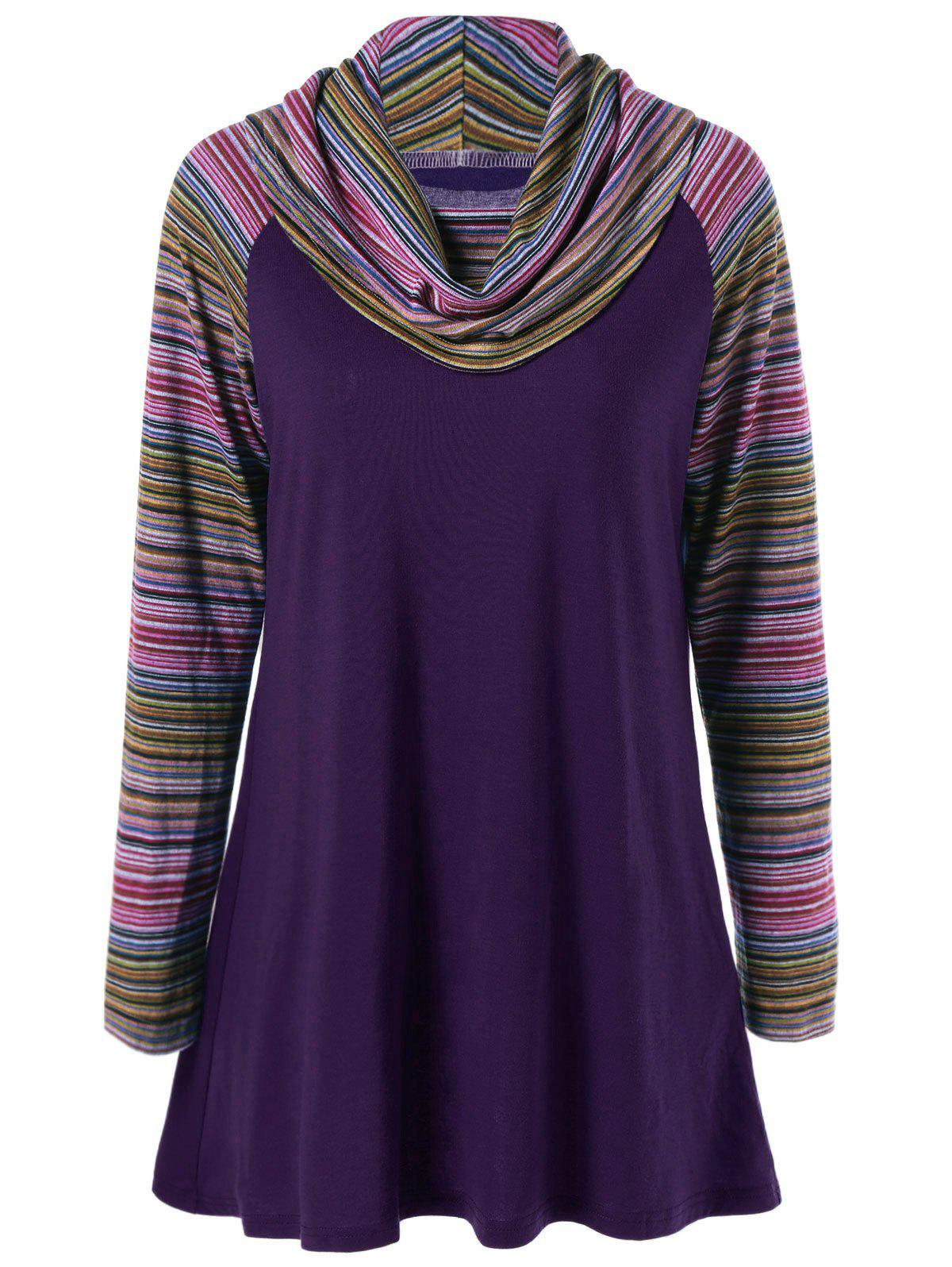 Cowl Neck Colorful Striped T-Shirt 193634113