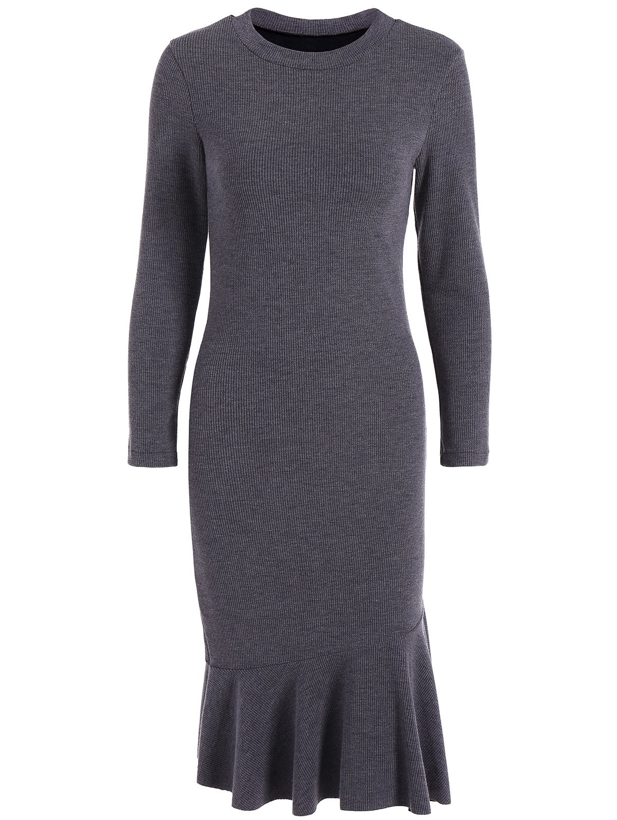 Long Sleeve Fitted Mermaid Midi Sweater Dress - DEEP GRAY 3XL