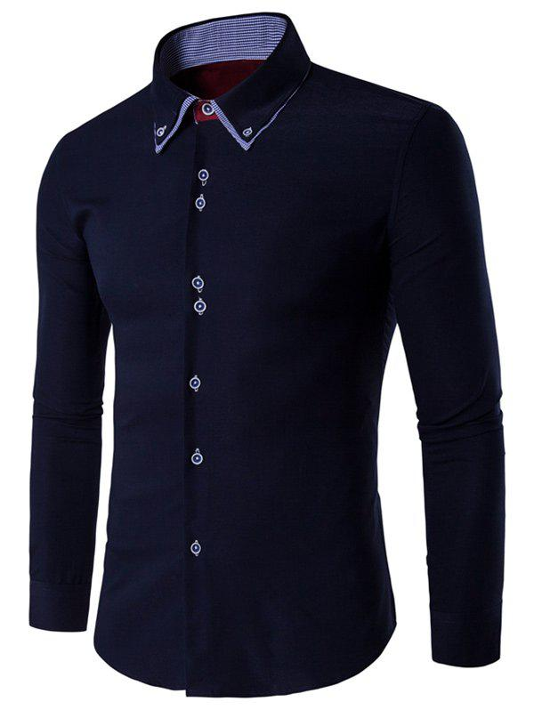 Double Layered Collar Long Sleeve Button Up ShirtMen<br><br><br>Size: M<br>Color: BLACK