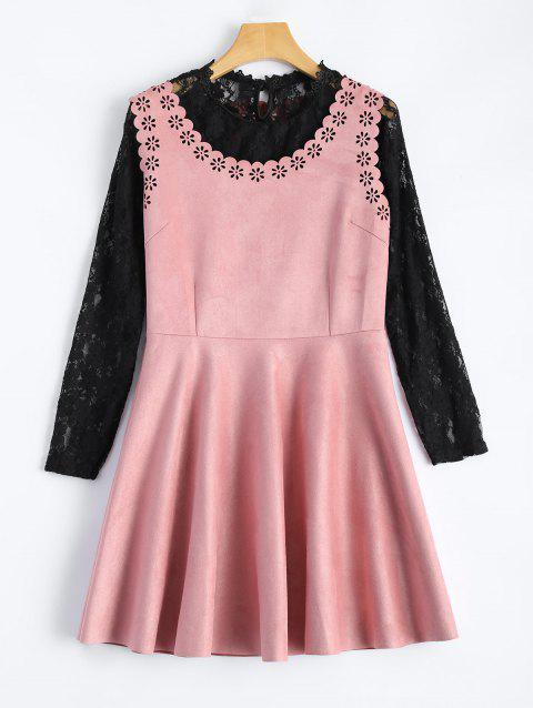 Laciness Suede Mini Dress With Lace Blouse - PINK M