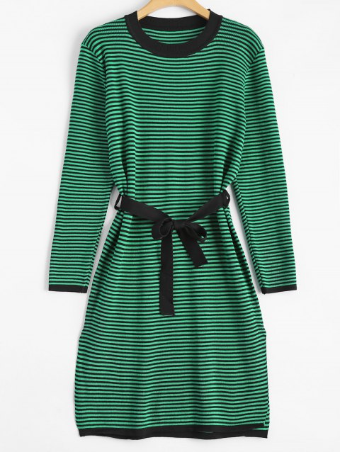 Robe Rayée Fendue Fit Manches longues - Vert ONE SIZE
