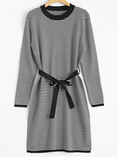 Slit Stripe Fitted Knitted Dress - BLACK ONE SIZE
