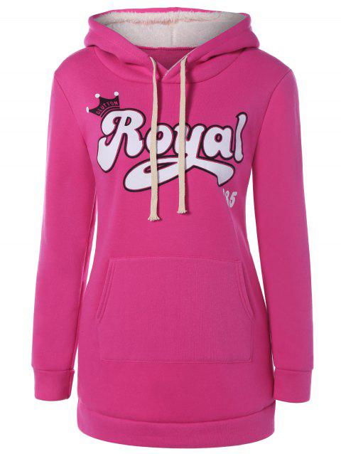 Pull Capuche Lettres ROYAL Poches - Rouge Rose L