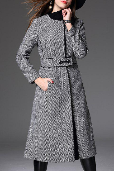 Dos Coat Slit Tweed - Gris M