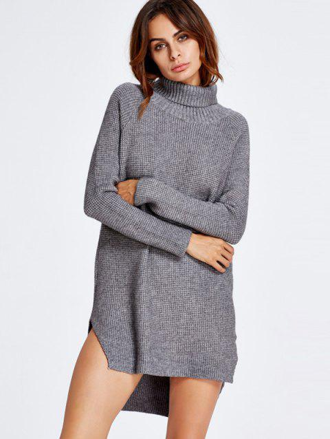 High Low Turtle Neck Tunic Jumper Dress - GRAY ONE SIZE