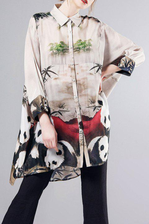 Oversized Print Graphic Silk Tunic Top - FLORAL S