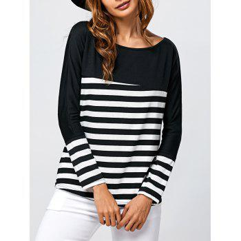 Boat Neck  Stripe Long Sleeve T-Shirt