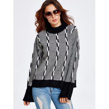 Color Block Heather Bell Sleeve Striped Sweater - BLACK ONE SIZE