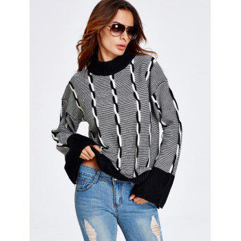 Color Block Heather Bell Sleeve Striped Sweater