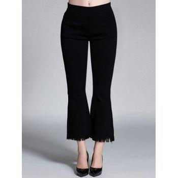 Plus Size High Waisted Bootcut Fringed Pants