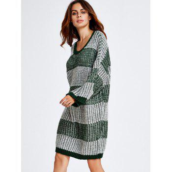 Stripe Thick Winter Casual Jumper Dress - GREEN ONE SIZE