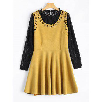 Laciness Suede Mini Dress With Lace Blouse