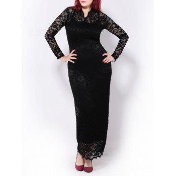 Plus Size Lace Maxi Long Sleeve Prom Dress