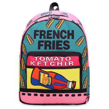 Nylon Color Blocking Letter Print Backpack