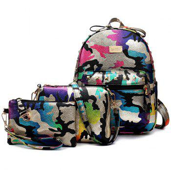 PU Leather Rivet Camo Print Backpack