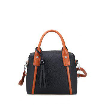 Color Spliced Textured Leather Tassels Tote Bag