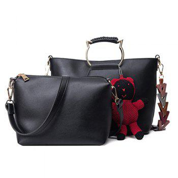 Bear Pendant Metallic Handle Tote