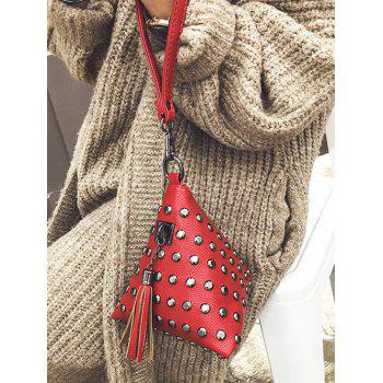 Tassel Studded Triangle Shaped Wristlet -  RED