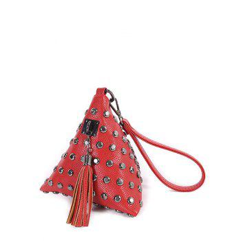 Tassel Studded Triangle Shaped Wristlet - RED RED