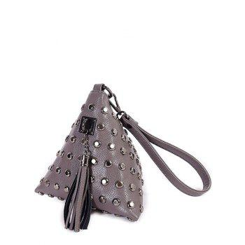 Tassel Studded Triangle Shaped Wristlet - GRAY GRAY