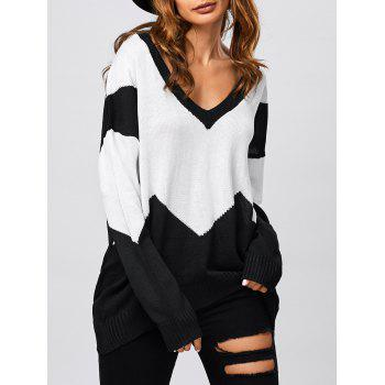 Patched Loose V Neck Sweater