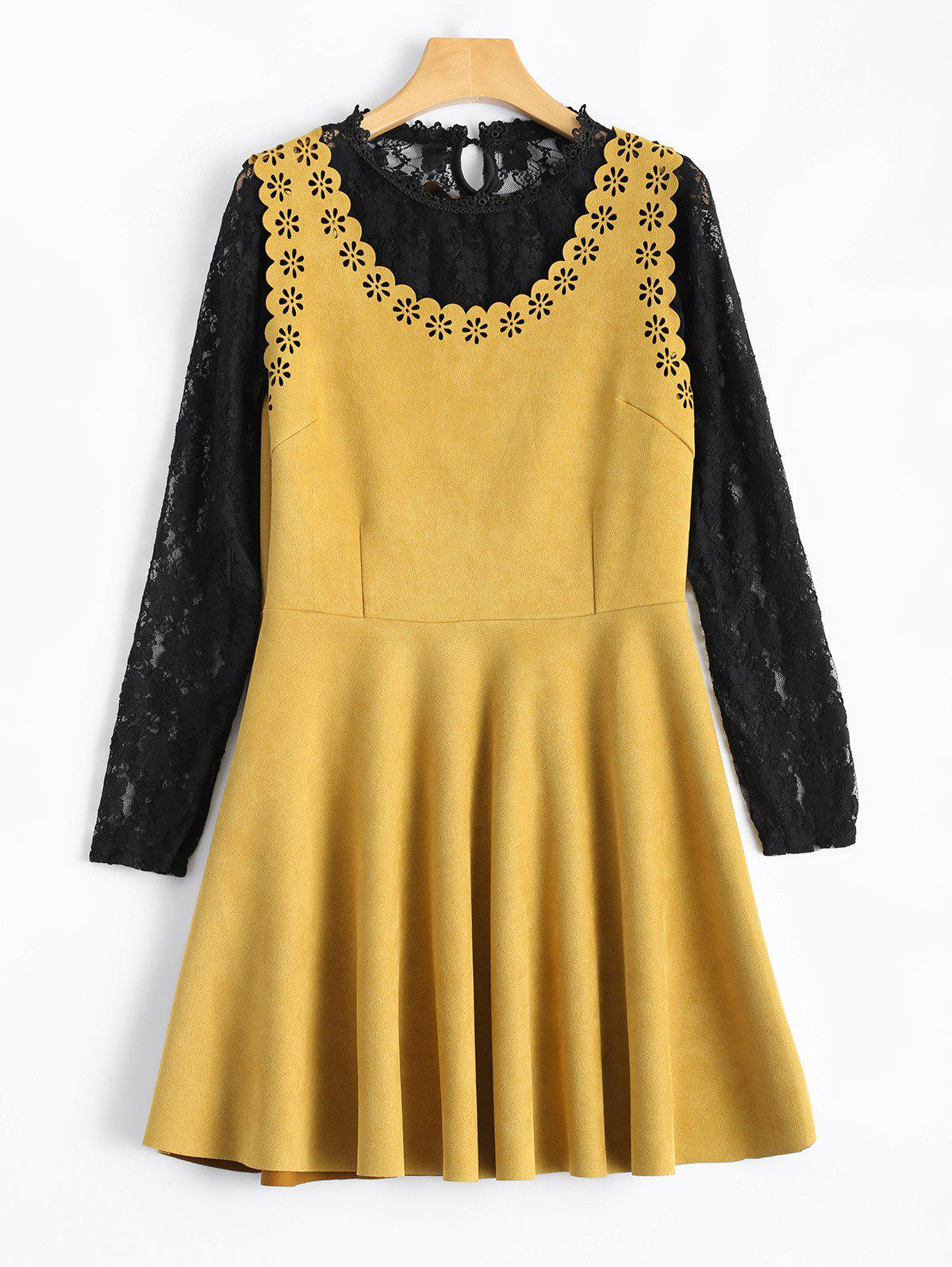 Laciness Suede Mini Dress With Lace Blouse - GINGER L