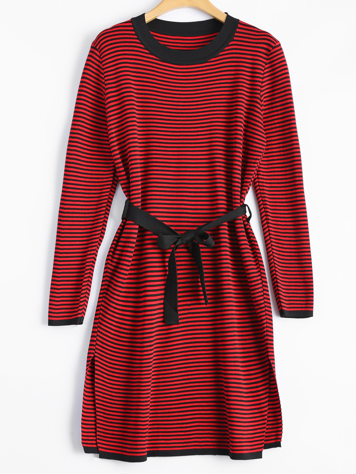 Slit Stripe Fitted Knitted Dress - RED ONE SIZE