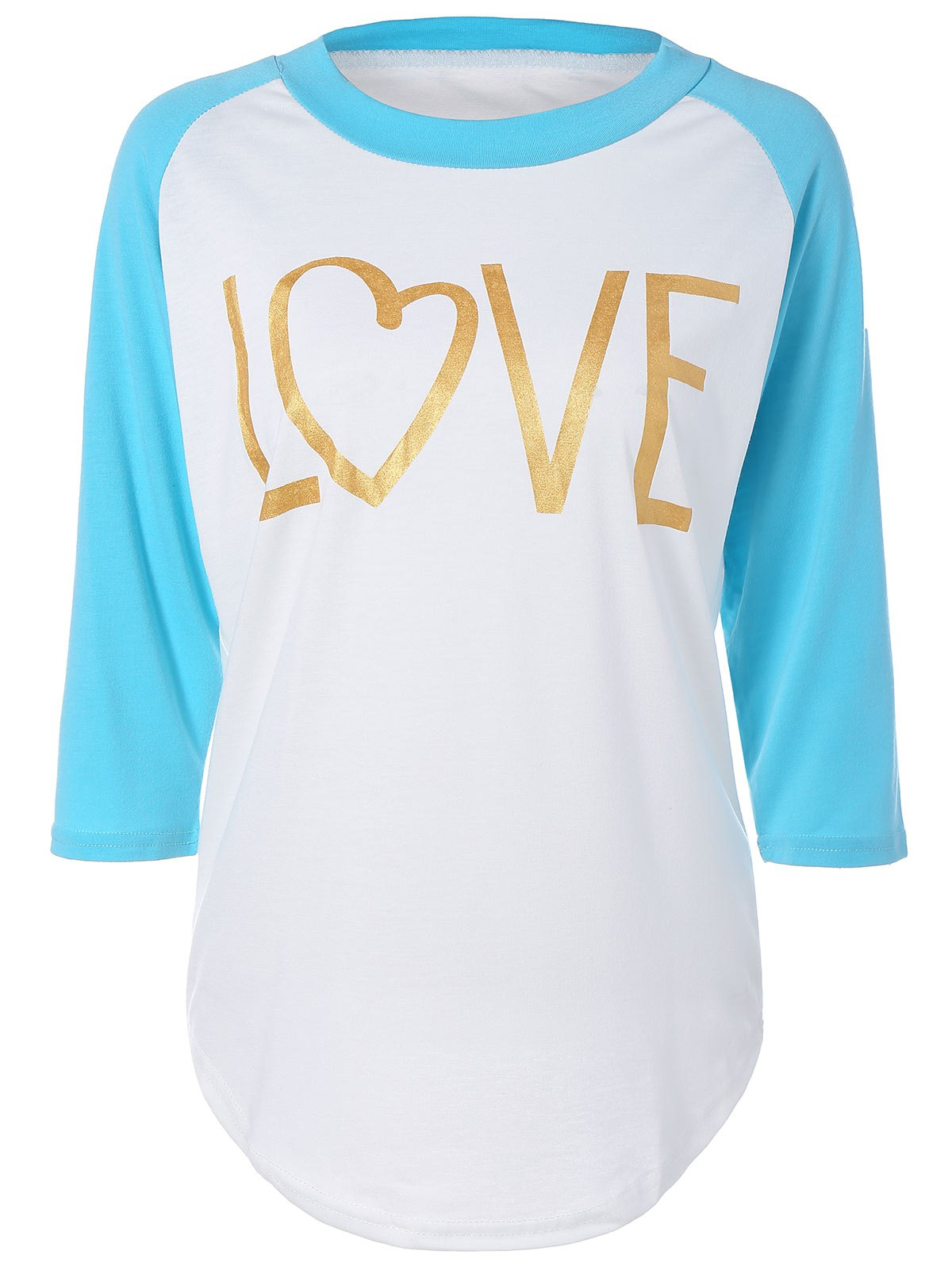 Love Heart Raglan Sleeve T-Shirt - AZURE L