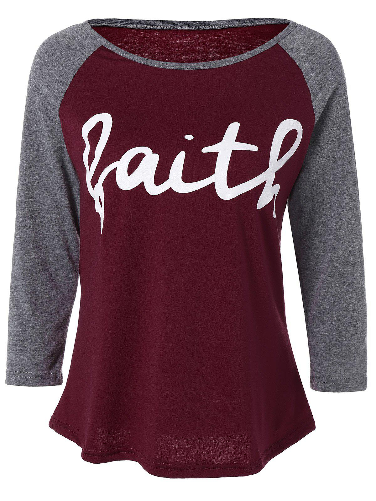 Faith  Raglan Sleeve T-Shirt - WINE RED M