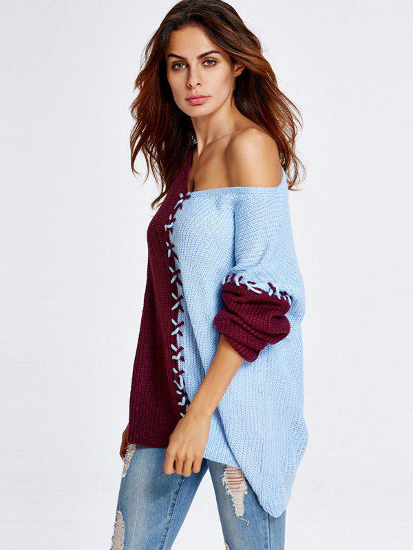 Color Block Loose Sweater - AZURE ONE SIZE