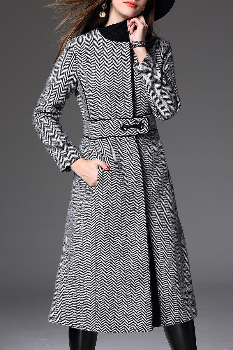 Back Slit Tweed Coat - GRAY L