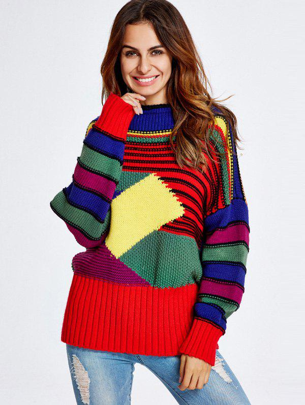 Geometric Stripe Pattern Chunky SweaterWomen<br><br><br>Size: ONE SIZE<br>Color: COLORFUL