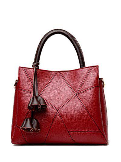 Colour Block Geometric Pattern Stitching Tote Bag - WINE RED