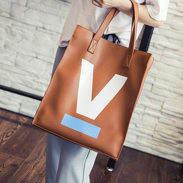 Casual Letter V Printed PU Leather Shoulder Bag - BROWN