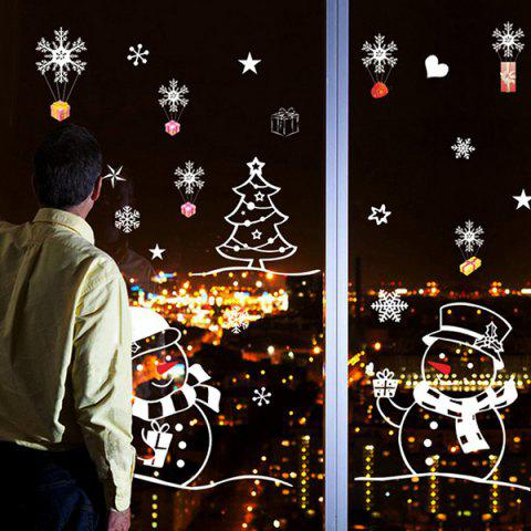 Christmas Snowman Glass Window Removable Wall Stickers - COLORMIX