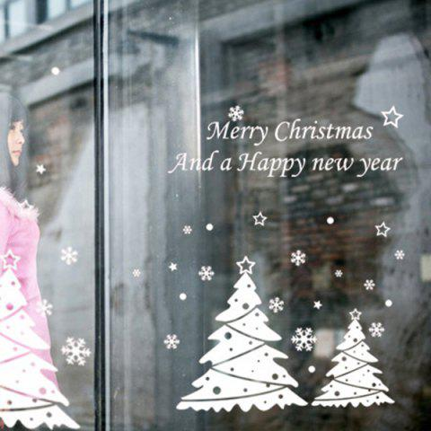 Christmas Tree Glass Window Removable Wall Stickers - WHITE