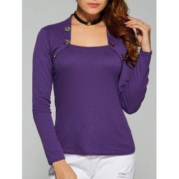 Square Collar Button Embellished T-Shirt