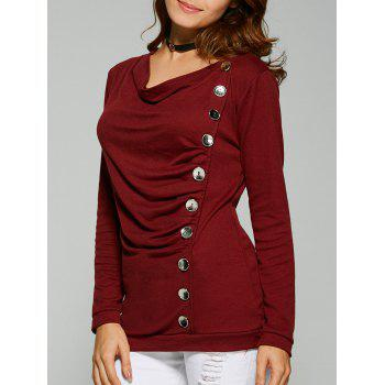 Ruched Button T-Shirt - WINE RED WINE RED