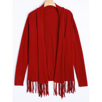 Drop Shoulder Knit Cardigan with Tassel
