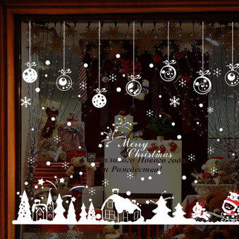 Christmas Snow Hut Glass Window Removable Wall Stickers - RED/WHITE