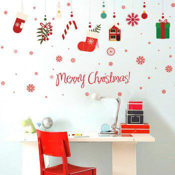 Christmas Gifts Glass Window Removable Wall Stickers - COLORFUL