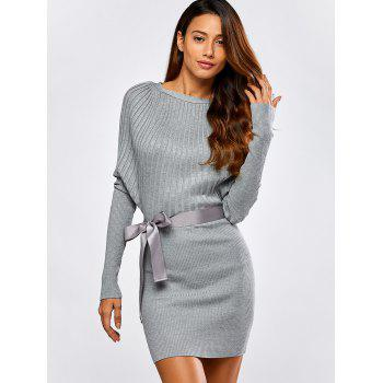 Batwing Knit Dress With Bowknot Sash - LIGHT GRAY LIGHT GRAY