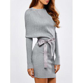 Batwing Knit Dress With Bowknot Sash
