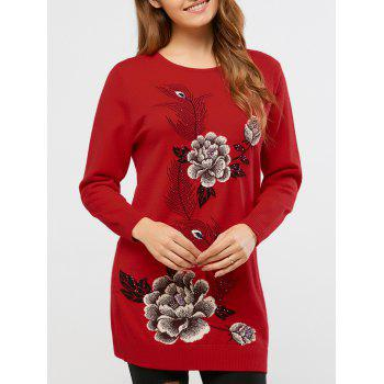 Rhinestoned Peony Print Long Sweater