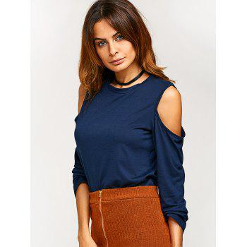 Round Neck Cold Shoulder T Shirt - DEEP BLUE XL