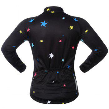 Sport Breathable Stars Long Sleeve Cycling Jersey - BLACK/GREEN BLACK/GREEN